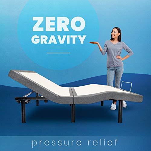 BEDBOSS King Maximize 604 Adjustable Full Motion Zero Gravity Motorized Bed Base | Heavy Duty Steel Frame | Relaxing Dual Massage | Wireless Remote | Mattress Retention Rail