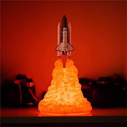 Shuttle Lampe, 3D Print Raketenlampe, Space Shuttle Lampe Nachtlicht Für Weltraumliebhaber Mondlampe Als Raumdekoration Mit USB Wiederaufladbar (A-Large)
