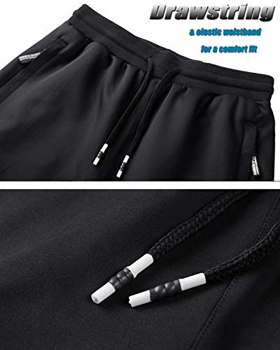 TACVASEN Tracksuit Bottoms Mens Zip Pocket Jogging Jacket Gym Suit Sports Casual Loungewear Winter Training Trousers Running Workout Sweatpants Sweatshirt Black