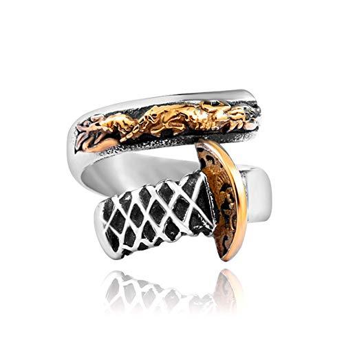 Ringe Herren Titan Stahl Überzug 24 Karat Gold Ring Öffnen Männer Drache Messer Ring - Nie Verblassen,12