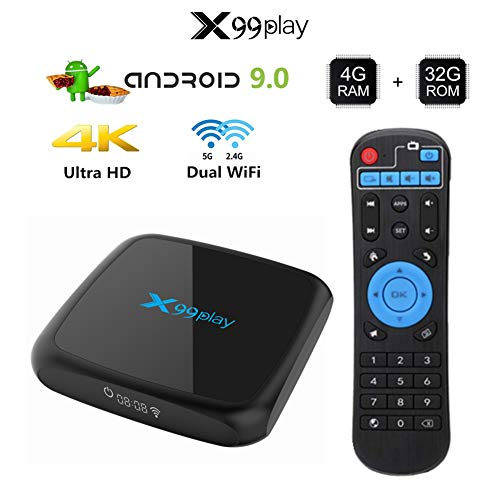 YP Android TV Box, 4G+32G unterstützt 4K, NinkBox Android 9.0 TV Box, Smart TV Box Set-top-Box für WLAN 2.4G/5.0G/USB 3.0/Ethernet 100M,LED Akkuanzeige