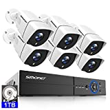 SMONET Wired Security Camera System,8 Channel 5MP Home Security Camera System(1TB HDD),6X5MP(2560TVL) Waterproof IP66 Security Cameras,Clear Night Vision,Motion Alert,Quick Remote Access,Free App