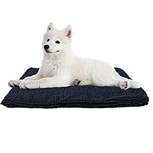 My Doggy Place Ultra Absorbent Padded Microfiber Chenille Dog Crate Mat for Pets, Premium, Durable, Washable Kennel Bed (47″ x 29″, Charcoal)