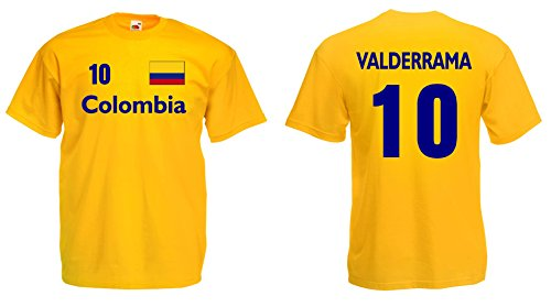 Kolumbien Herren T-Shirt Columbia Valderrama Trikot Nr.10gelb-M