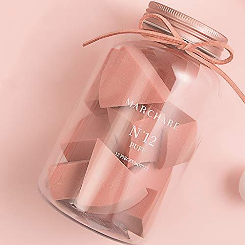 Ckssyao Beauté éponge 12 Triangle Humide et Sec Outils sans Poudre de beauté du Visage, Applicateur éponge cosmétique pour Liquide en Vrac Fond de Teint Crème Maquillage Poudre,Rose