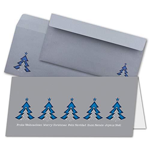 150x Weihnachtskarten-Set DIN Lang - Blaue Tannenbäume, Gruß in Mehreren Sprachen - Faltkarten mit passenden Umschlägen - Weihnachtsgrüße für Firmen und Privat