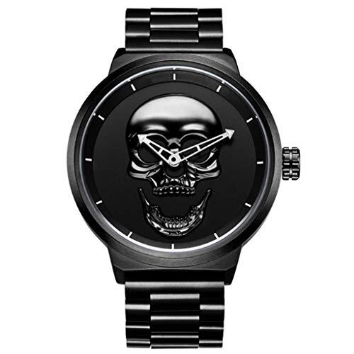 Gnaixyc Reloj De Pulsera para Hombre, Cuarzo Reloj De Pulsera De Acero Inoxidable, con Diseño De Calavera En 3D Y De Calidad,Negro