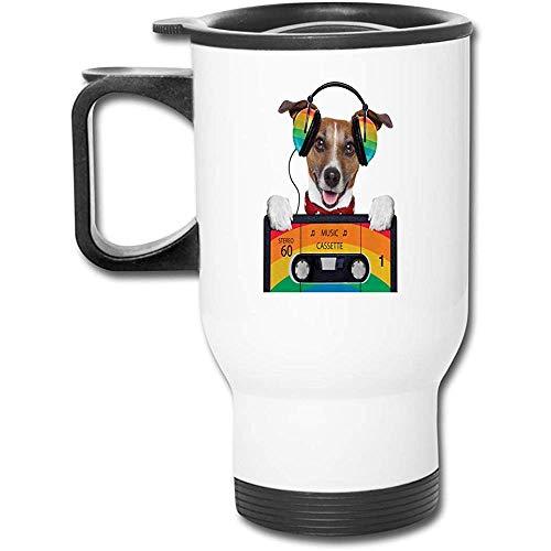Hund Musik hören 80er Jahre Farbe Kopfhörer Auto Griff Cup-Edelstahl Reise Auto Becher mit Henkel, Auto, Cafe, Büro, zu Hause, etc.
