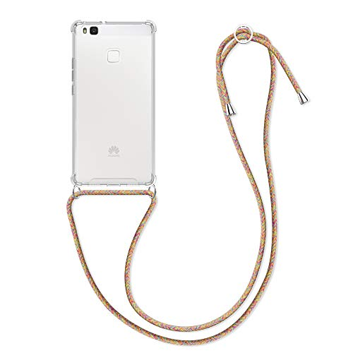 kwmobile Funda con Cuerda Compatible con Huawei P9 Lite - Carcasa Transparente de TPU con Cuerda para Colgar en el Cuello