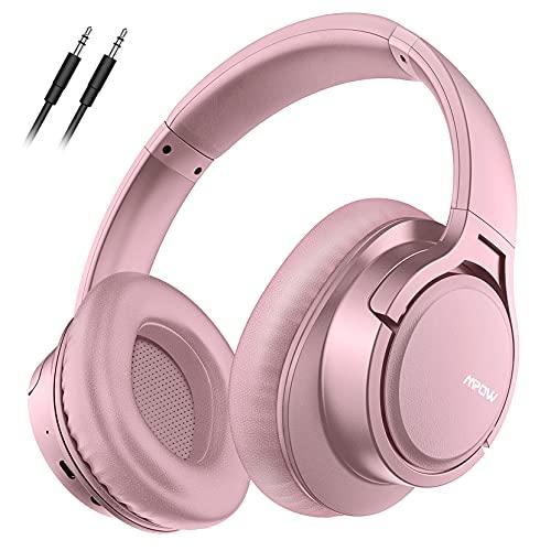 Mpow H7 Cascos Bluetooth Diadema, 25Hrs De Reproducir, Hi Fi Sonido, Cascos Bluetooth Inalámbricos Con Micrófono Incorporado, Auriculares Bluetooth Diadema Para TV, Móvil, PC, Rosa