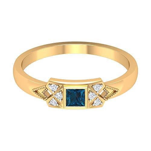 Anillo solitario de topacio azul Londres de 1/4 quilates, anillo de diamante HI-SI, anillo de compromiso de corte princesa de 3 x 3 mm, anillo de oro vintage, oro de 14 quilates azul