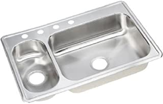 Elkay NMRB33224 Neptune 33-by-22-by-7-by-5-Inch Double Bowl Kitchen Sink, Stainless Steel