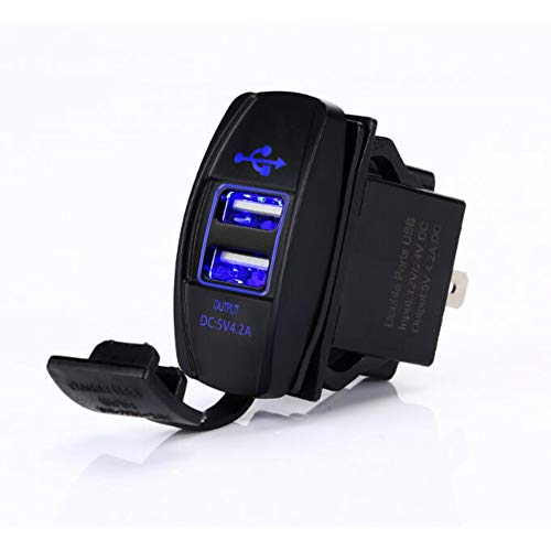 Switchtec 4.2 AMPS-Fast Dual USB Charger Rocker Switch Style Blue LED Back-lit for Boats, Side by Side, Off Road Vehicles, Recreational Vehicle