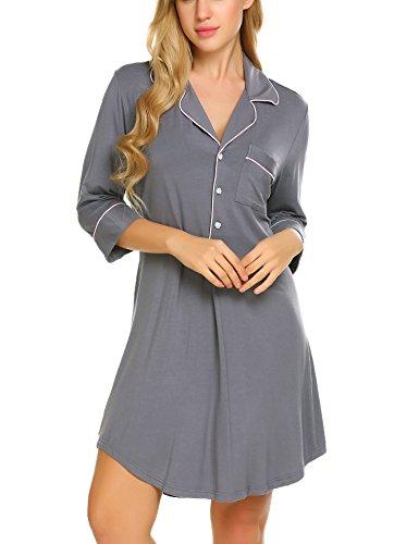 Ekouaer Boyfriend Style Sexy Cotton Nightgown Sleep Shirt For Women, Gray(3/4 Sleeve), Small