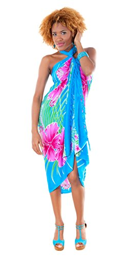 1 World Sarongs Womens Hawaiian Floral Cover-Up Sarong in Turquoise/Pink