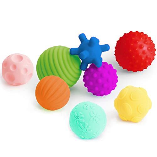 Coolle- Juego de Bolas múltiples texturizadas | Bola táctil para bebés | Juguetes de baño de Bolas | Bolas sensoriales para bebés de 6 Meses o más con Colores Brillantes y chirridos, Paquete de 8