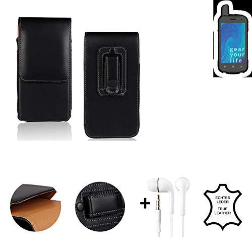 K-S-Trade® Leder Gürtel Tasche + Kopfhörer Für Ruggear RG720 Seitentasche Belt Pouch Holster Handy-Hülle Gürteltasche Schutz-Hülle Etui Schwarz 1x