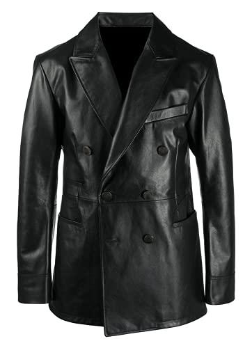 TIPTOP elegante clásico doble pecho abrigo para hombres chaqueta de cuero real regular y más tamaño negro