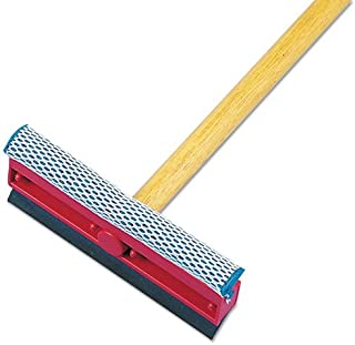 Boardwalk 824 General-Duty Squeegee, 8-Inch Sponge/Rubber Blade, Black/Red, 21-Inch Metal Handle