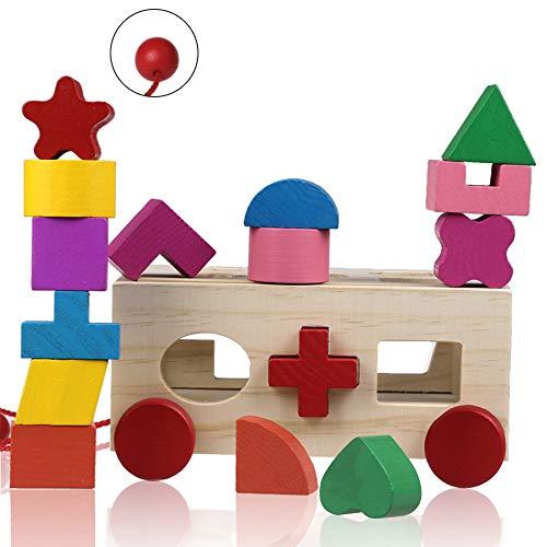 Cubo de Actividad de Madera, ZoneYan Juguete de Clasificación de Forma, Juego de Cubo de Madera con Formas, Clasificador de Forma de Juguete de Madera, Rompecabezas de Cubo con 15 Formas para Niños