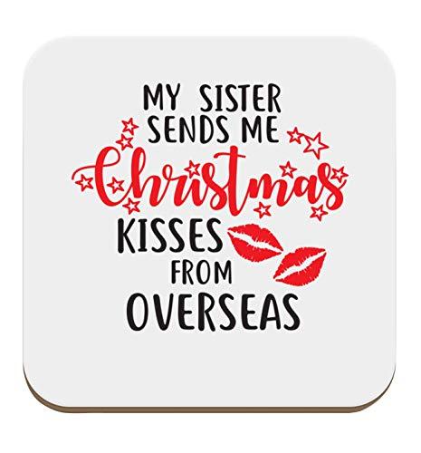 Flox Creative Untersetzer, einzeln oder Sets erhältlich, für Schwester Christmas Kisses Overseas