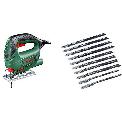 Bosch PST 650 Seghetto Alternativo Compact Easy, Nero/Green + Bosch 2607010629 Set 10 Lame Seghetto per Legno