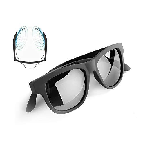 Conducción ósea Gafas Bluetooth Auriculares inalámbricos Bluetooth Gafas de sol auriculares deportivos impermeables a prueba de sudor para iOS Android negro