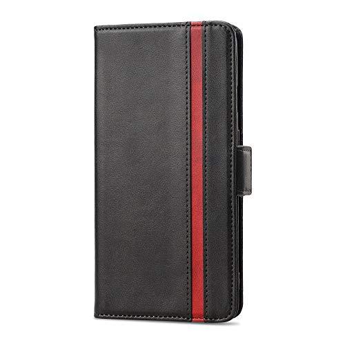 Rssviss Funda OnePlus 9 Cáscara de Piel PU para OnePlus 9, 4 Ranuras para Tarjetas y Moneda con Cierre magnético Estuche para OnePlus 9 Flip Case, 6.55' Negro
