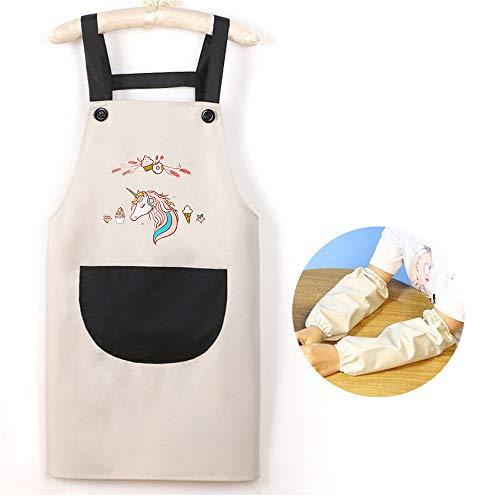 YXDZ Cartoon Schürze Ölbeständiges Kleid Nach Hause Koreanische Damenmode Ärmellose Küche Arbeitskleidung Hängen Hals Hüftgurt Grau 68 * 70Cm