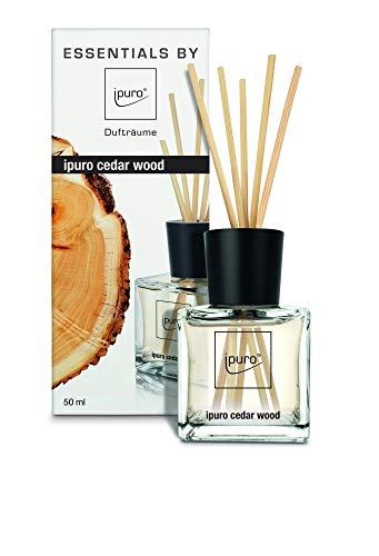 ipuro Essentials Raumduft cedar wood - Raumduft für ein warmes und würziges Raumklima - Lufterfrischer mit hochwertigen Inhaltsstoffen (50ml) - aus Glas mit Rattanstäbchen