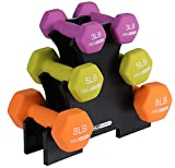 HolaHatha 3Lb, 5Lb & 8Lb Hex Dumbbell Set with Rack Stand, Ideal...
