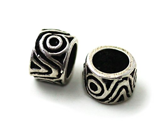925 Sterling Silver Norse Viking Celtic Beard Beads Rings, Dreadlock Pirate Hair Beads, Pagan Jewelry