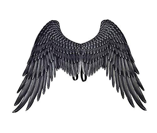 CHRONSTYLE 3D Schwarz Engelsflügel Weiße Fee Flügel Kostüm Halloween Party Karneval Cosplay Flügel Für Erwachsene Männer Frauen Kinder Kinder, Halloween Dekoration Requisiten (schwarz, 75 x 105 cm)