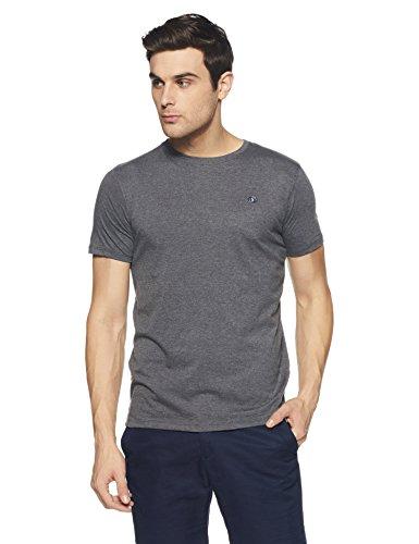 Amazon Brand - Symbol Men's Solid Regular Fit Half Sleeves Cotton T-Shirt (AW17PLSR1_XL_Dark Grey Melange)