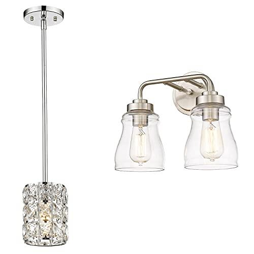 CALDION Indoor Light Sets, Set of 2 Matching Bundle, Pendant Light & Vanity Light, 6869PL-CH, 2695VL-BN-2