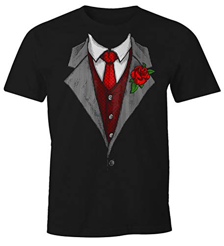 MoonWorks Herren T-Shirt Anzug Schlips Krawatte aufgedruckt Fun-Shirt schwarz L