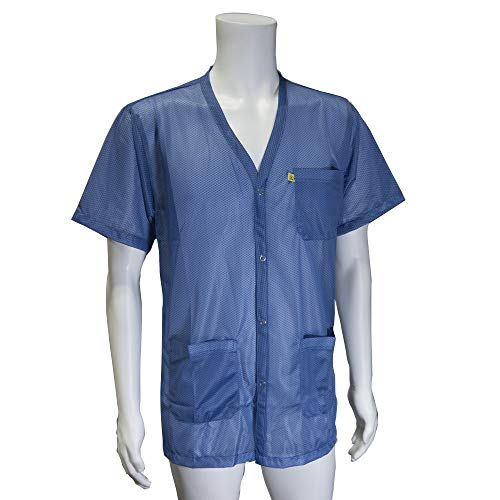 StaticCare ESD Jacket, with V-Neck Collar and Short Sleeves, Blue, 3XL