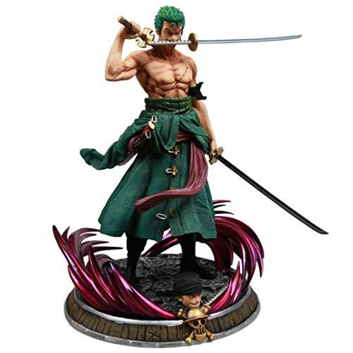 CZWNB Figura Muy Exquisita, Una Pieza Tres Espadas Roronoa Zoro Figura Modelo Anime Estatua Exquisito colección Juguete,Regalo de niño