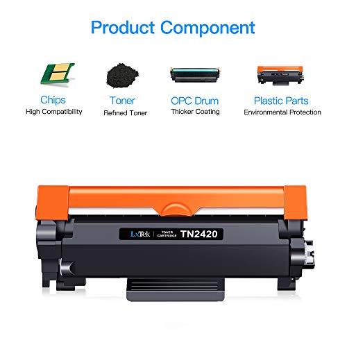 LxTek Compatible para Brother TN2420 TN-2420 TN2410 TN-2410 Cartuchos de Tóner para Brother MFC-L2710DW HL-L2310D DCP-L2530DW HL-L2350DW HL-L2370DN MFC-L2710DN MFC-L2730DW (1 Negro, con Chip)