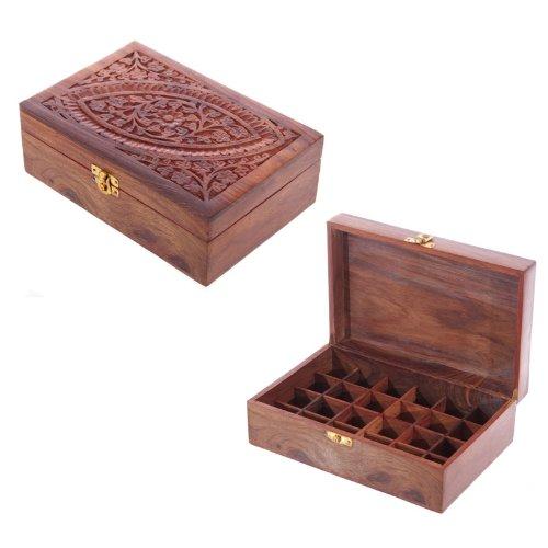 EliteKoopers Dekorative Aufbewahrungsbox aus Sheesham-Holz, geschnitzt, Aufbewahrungsbox, originelles Zubehör, 1 Stück