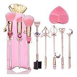 boogift 8 Pcs Sets de Brochas para Maquillaje, Gold Cardcaptor Sakura/Sailor Moon Brand Pinceles de Maquillaje Set Cosmetic Powder Foundation Cepillo de Sombra de Ojos Herramienta de Maquillaje (B)