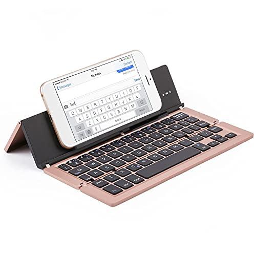 FFZQ Teclado Plegable portátil de Aluminio, Teclado Bluetooth, Escritorio Compatible, Compatible con escritorios, Accesorios de Entretenimiento de Oficina,A
