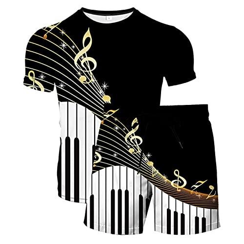 Novedad Unisex Camiseta con Estampado 3D Camisetas de Manga Corta y Bañadores para Hombre Pantalones Cortos Divertidos Bañadores de Secado Rápido Bañadores con Cordón(Negro 4,6XL)