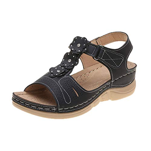 MQJ Ladies Halter Back Sandals, Moda Mujer Moda All-Match Wedge Heel Shoes Hueco Sandalias Casuales Negro,Negro,7Uk