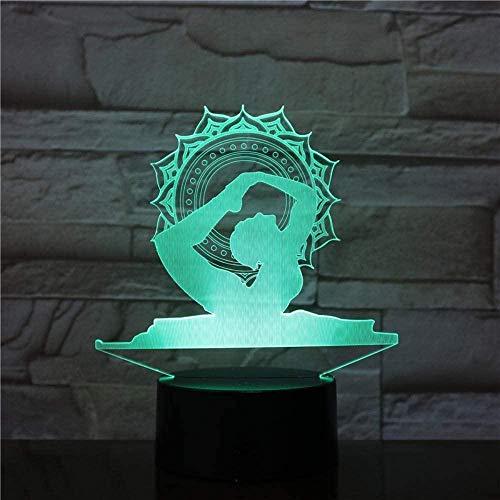 giyiohok 3D LED Home USB Yoga Modeling Desk Lamp Dancer Night Lights 7 Colors Acrylic Bedside Sleep Lighting Decor Gifts