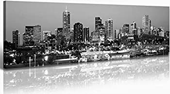 JiazuGo - B&W Panoramic Cities Denver Skyline Modern Art Work Cityscape Pictures Paintings on Canvas Wall Art Wall Pictures Bedroom Art Home Decorations Office Decor Ready to Hang 14 x48