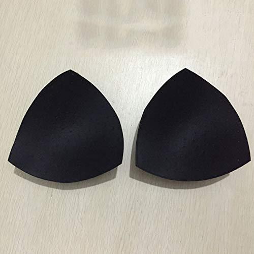 Rendeyuan 2 Piezas Mujeres Triangular Esponja Pecho Sujetador Almohadillas Transpirables sin Costuras Almohadillas de Ropa Interior para Fitness Yoga Sujetador Deportivo - Negro
