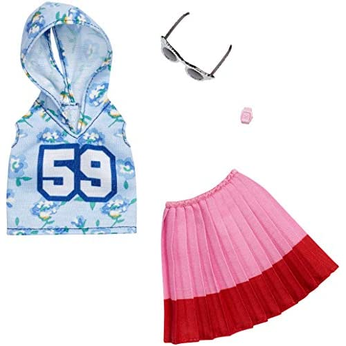 Barbie Mattel Fashion Night Outfit - Blue Hoody 59, Pink Skirt And Glasses (FXJ10)