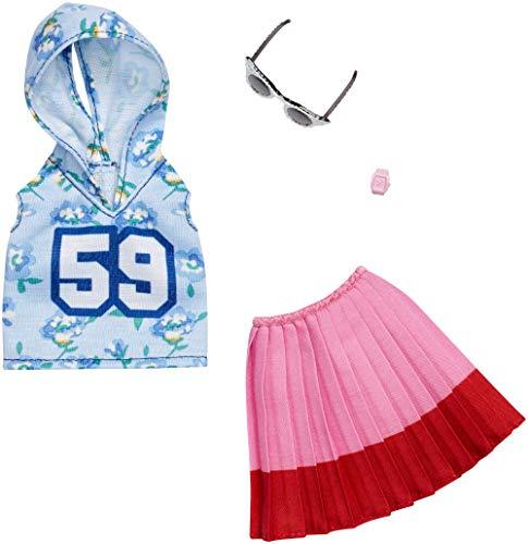 Mattel-Barbie - FXJ10 - Fashion #1 - ärmelloser Hoodie und Faltenrock, inkl. Brille und Armband, Kleid, Mode, Fashion, Kleidung passend für Barbie
