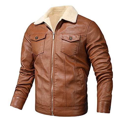 URIBAKY - Chaqueta de piel para hombre, estilo chic, para otoño e invierno, para ocio, cachemira, cuello alto, bolsillo, abrigo de piel, chaqueta de moto para cachemira, talla grande, caqui, XXL
